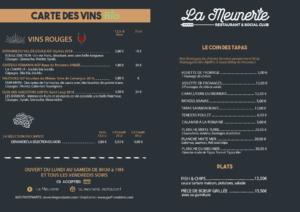 carte boissons La Meunerie Restaurant